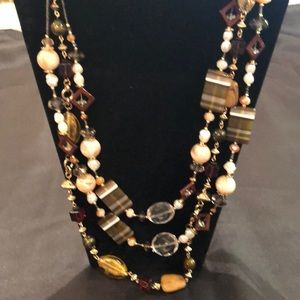 Multi colored stone & bead long statement necklace